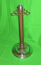 ROSETTA CIRCULAR CHROME & BROWN 9 CUE REST STICK RACK STAND SNOOKER POOL TABLE